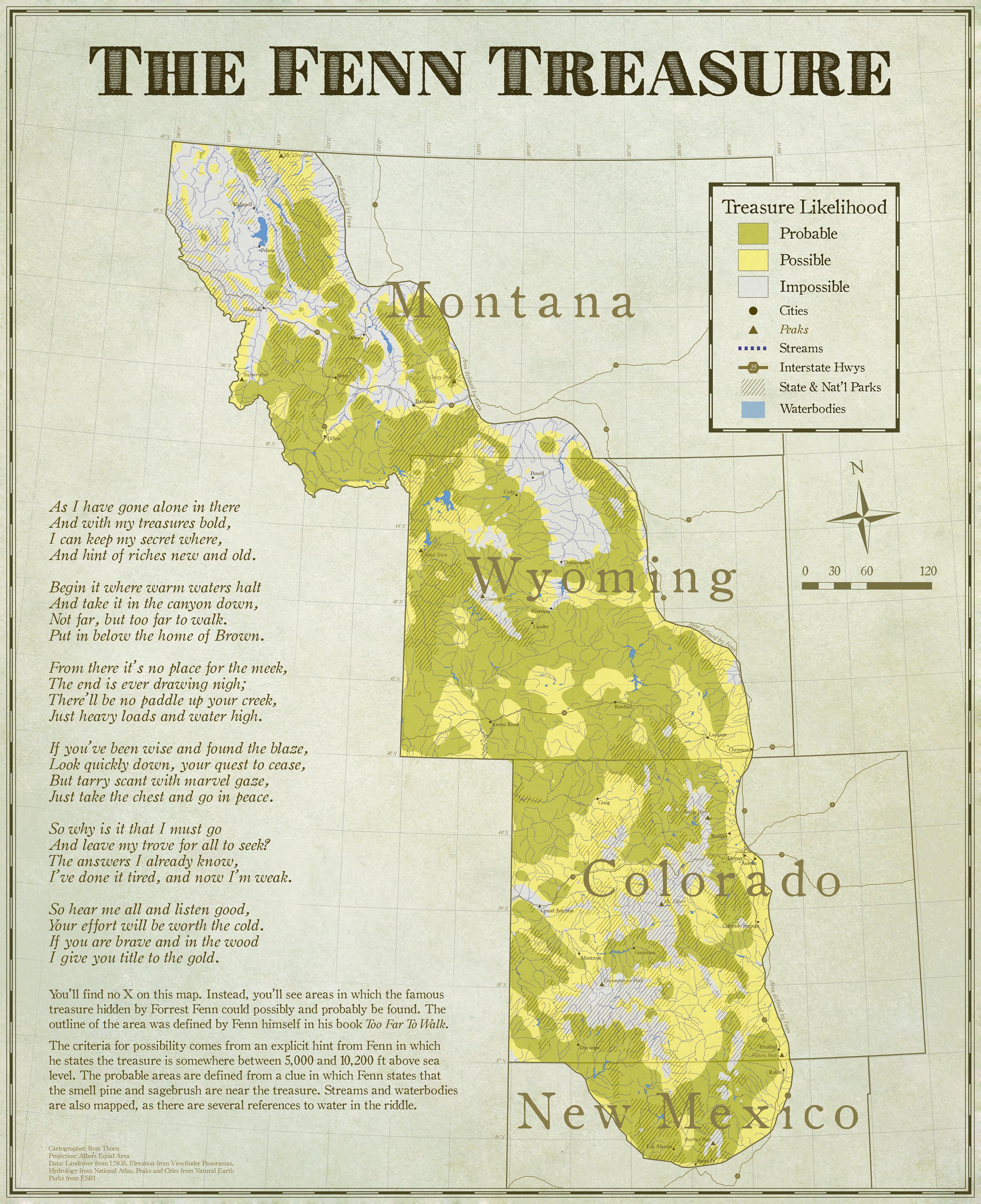 Forrest Fenn Map A Modern Day Treasure Map   Ross Thorn Forrest Fenn Map